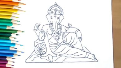 How to Draw God Ganesha with simple lines | Drawing of Ganesh ji