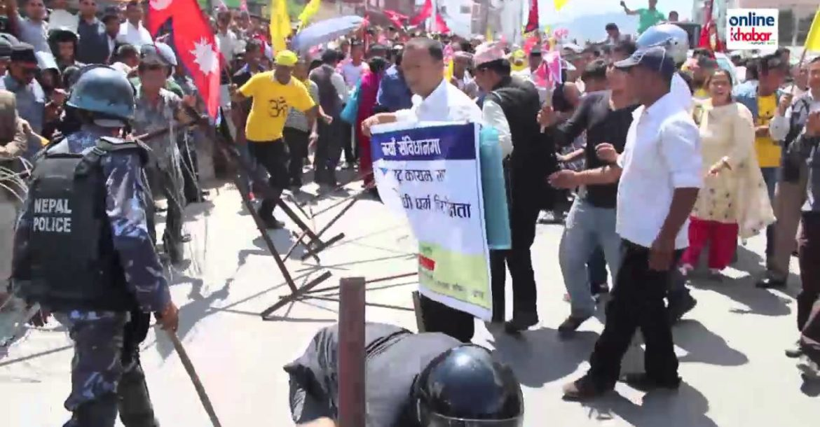Strike for Hinduism in nepal