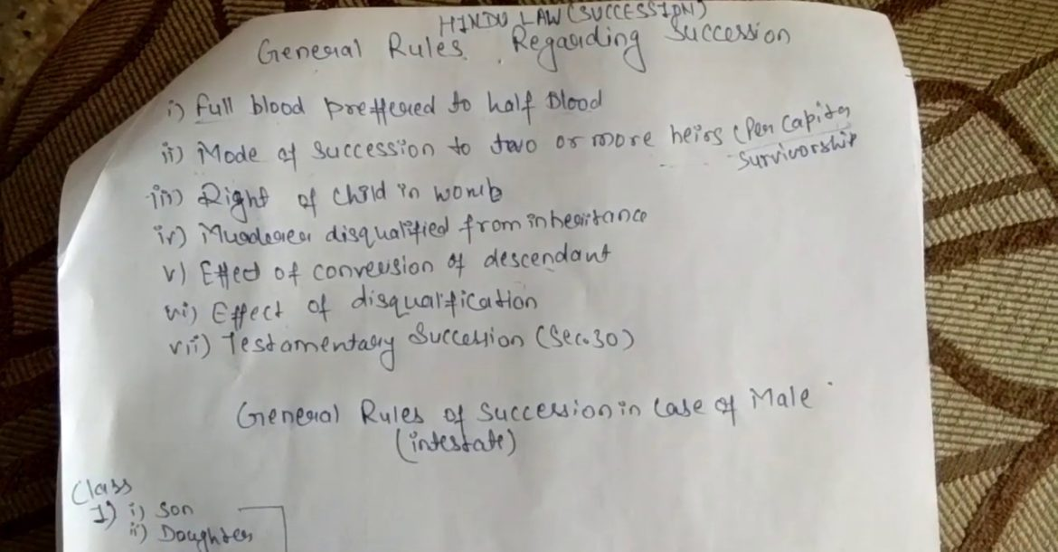 General rules for Hindu Succession Act 1956