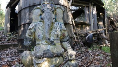 Exploring an Abandoned Village with Japanese style homes (Also found Hindu God sculpture)
