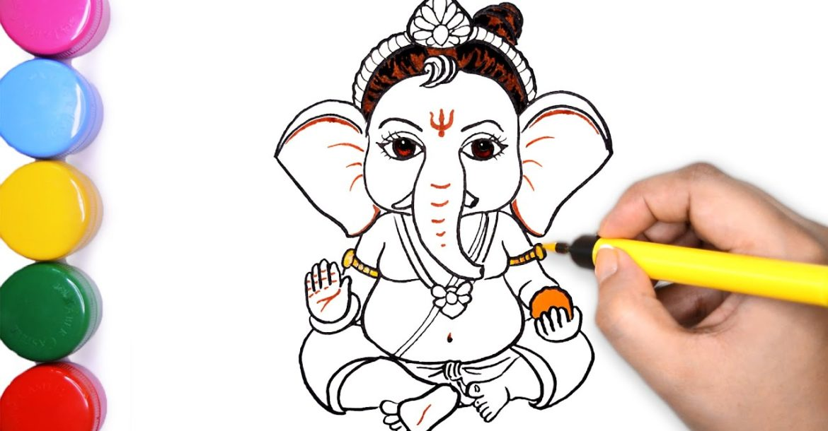 Ganesh Chaturthi Special | Draw Cute Bal Ganesha | Lord Ganesha Painting | How to Draw Ganpati