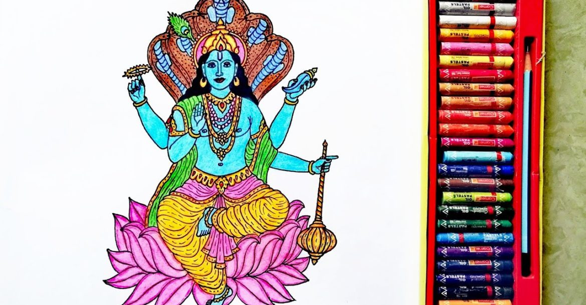 How to Draw Lord Vishnu Easily Picture | God Vishnu Drawing | By Drawing Art