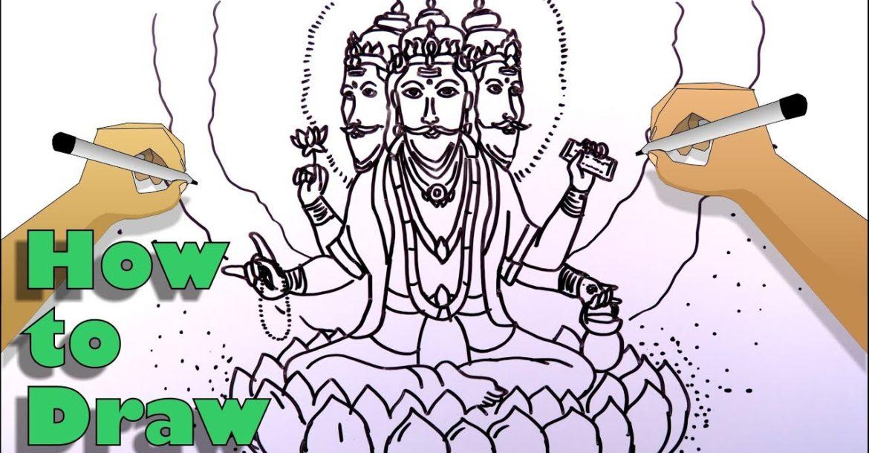 How to draw the Creator God Brahma easily