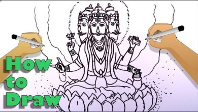 How to draw the Creator God Brahma easily