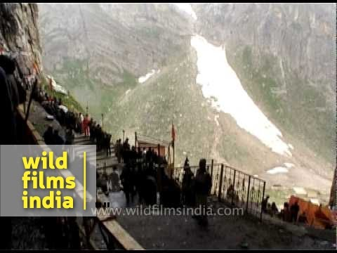 Rare view inside Amarnath cave, a holy Hindu shrine in India