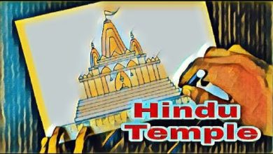 how to draw a temple | temple drawing for kids | hindu temple architecture , mandir