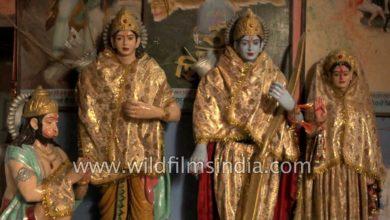 Idols of Hindu Gods and Goddesses at Luv Kush temple in Amritsar
