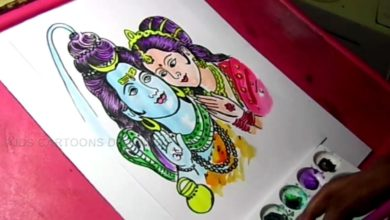 How to Draw Lord Shiva and Parvati Drawing