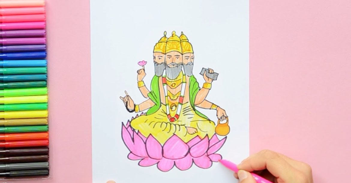 How to draw Lord Brahma