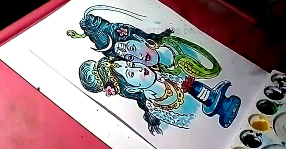 How to Draw Lord Shiva and Parvati Color Drawing
