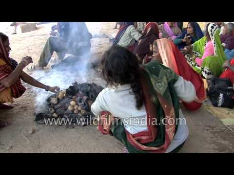 Indian women cook potatoes by burning cow dung patties