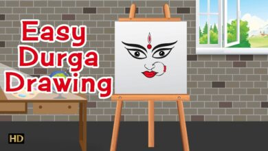 Easy Durga Drawing   Navratri Special   Kids Learning Videos (HD)