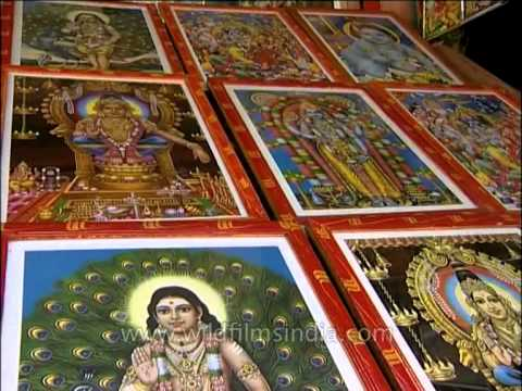 Hindu God and Goddesses poster for sale in a shop in Trivandrum