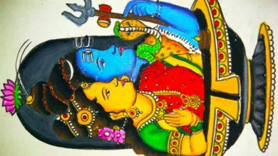 Shiva Parvati Drawing using oil pastels