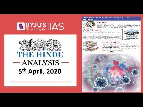 'The Hindu' Analysis for 5th April, 2020. (Current Affairs for UPSC/IAS)