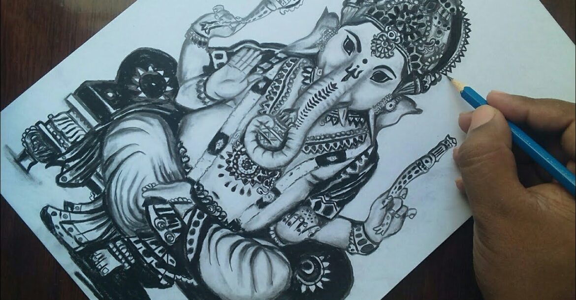 God Ganesha Drawing for beginners Easy / How to Draw Ganesh Chaturthi Drawing