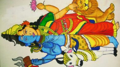 How to draw half lord Shiva and half Goddess Parvati using oil pastels easily
