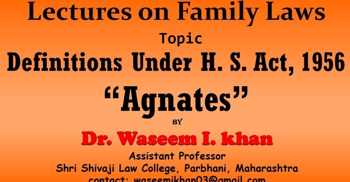 Hindu Succession Act, 1956 Part 2 | Definition of Agnates | Lectures on Family Law.