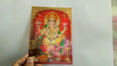 Hindu elephant god ganesha dancing  3D print card, Linsenförmige, Drucke, bild