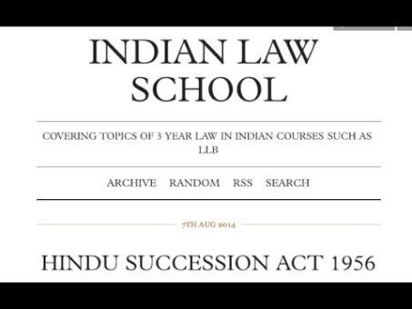 Hindu Law: Hindu Succession Act - Intestate Succession of Male