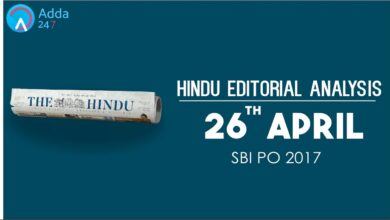 SBI PO 2017 -The Hindu Editorial Analysis - 26th April 2017 - Online Coaching for SBI IBPS Bank PO