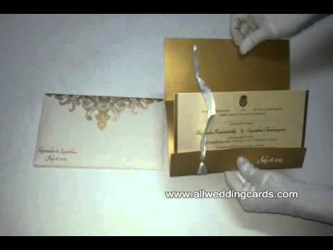 W-4794A, Custom Matte Ivory and Shimmer Gold , Hindu Cards, Unique Wedding Invitations