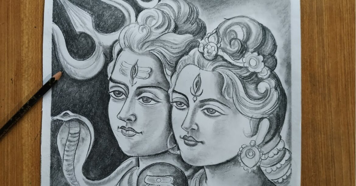 how to draw lord shiva and maa parvati for nil puja,how to draw lord shiva for charak puja special,