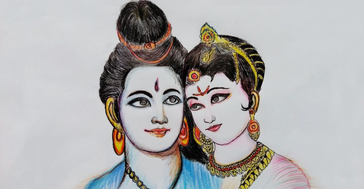 how to draw shiva and parvati (step by step) with color pencil
