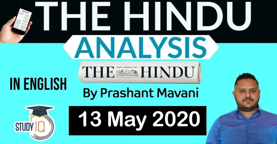 English 13 May 2020 - The Hindu Editorial News Paper Analysis [UPSC/SSC/IBPS] Current Affairs