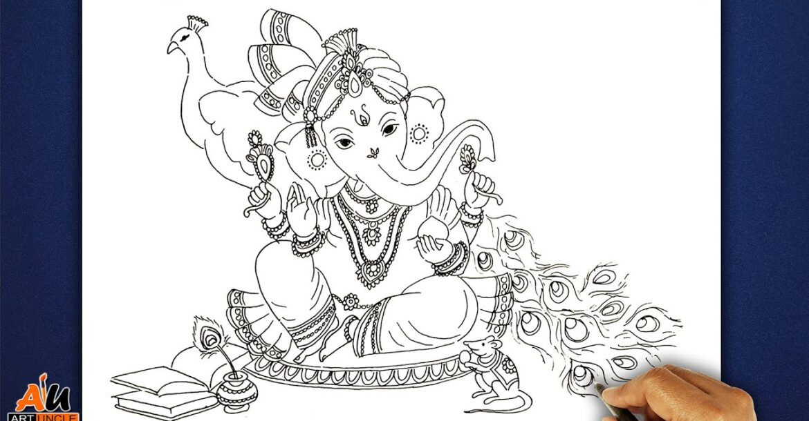 How to Draw God Ganesha easy with simple lines | Drawing of Ganesh ji