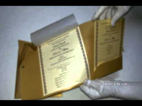 W-4363, Rust Gold Color, Shimmer Paper, Hindu Cards, Indian Invitations, Scroll Wedding Cards