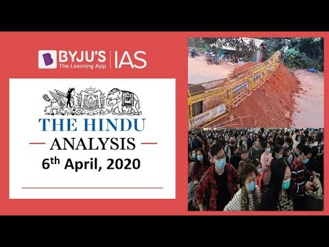 'The Hindu' Analysis for 6th April, 2020. (Current Affairs for UPSC/IAS)