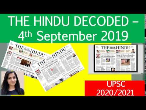 4th September 2019 : The Hindu Decoded by Arpita Sharma