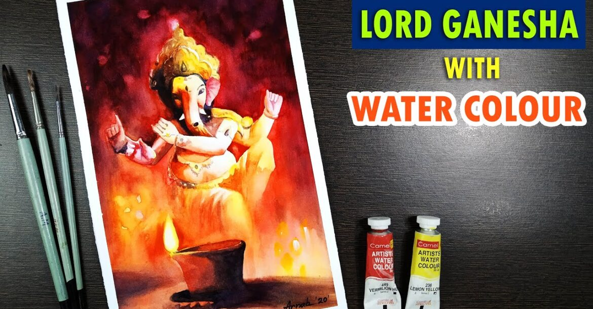 Ganesh painting | Watercolor painting for beginners| God Ganesha drawing with watercolor