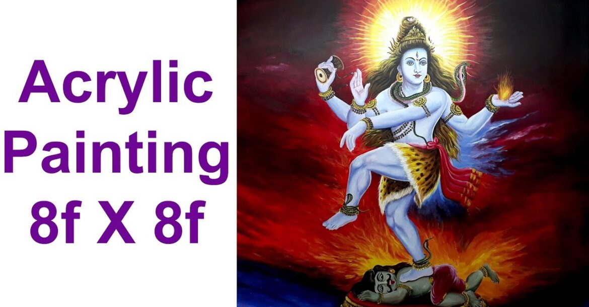 Nataraja painting time laps demonstration lord Shiva acrylic painting by Nihar Debnath