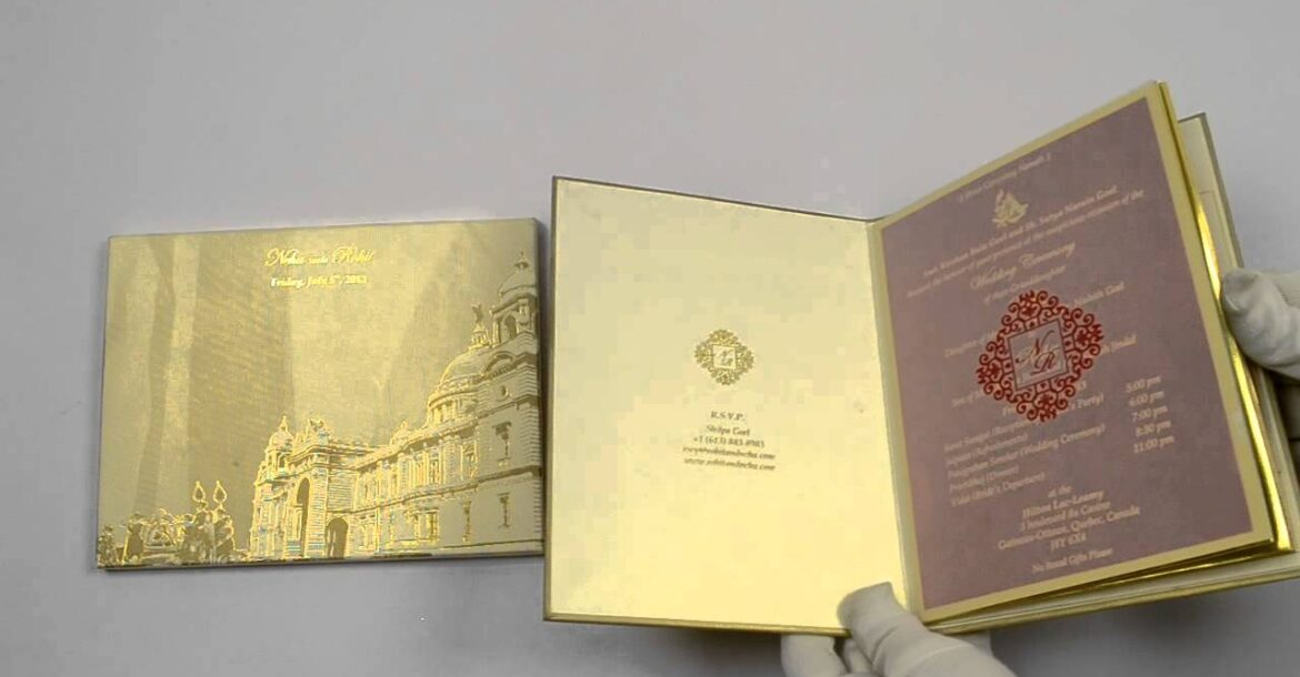 D-6093, Gold Color, Shimmery Finish Paper, Designer Multifaith Invitations, Hindu cards