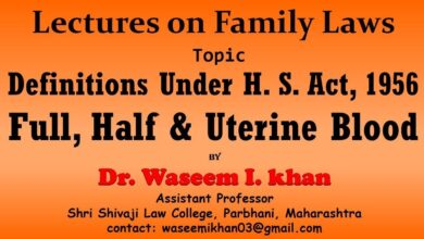 Hindu Succession Act, 1956 Part 4 | Definition of Full Blood and Half Blood| Lectures on Family Law.