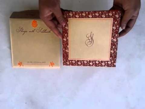 Hindu Wedding Cards in Gold Maroon Color