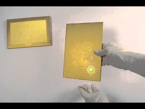 D-4850, Gold Color, Designer Multifaith Invitations, Hindu Wedding cards