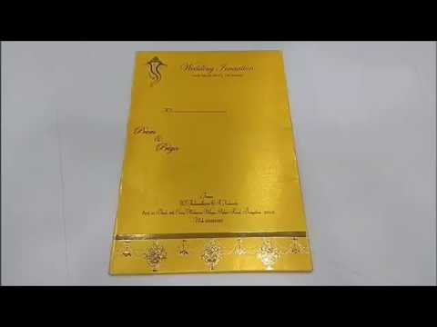 Invitation Card - Stunning Creation in Red and Gold with Hindu Ganesha Invitation Card-KNK4626